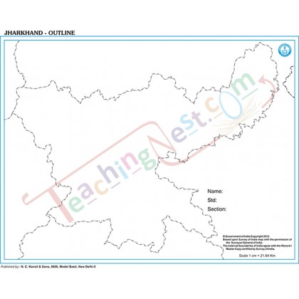 Jharkhand Outline Map (27x22cm)