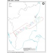 Tamil Nadu Outline Map -100 Sheets Pad (27x22cm)